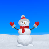 Snowman with scarf looking up under blue sky Royalty Free Stock Photography