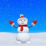 Snowman with scarf looking up under snowfall Stock Images