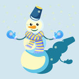 Snowman in a scarf and mittens. vector illustration. Snowman in a scarf and mittens vector illustration Stock Photo