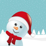 Snowman scarf and santa claus hat Royalty Free Stock Images