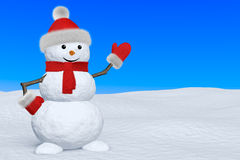Snowman with scarf on snow pointing to copy-space Royalty Free Stock Photography
