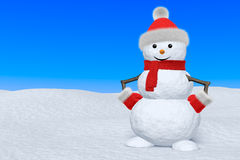 Snowman with scarf on snow under blue sky Stock Images