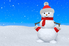 Snowman with scarf under snowfall Royalty Free Stock Image