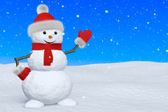 Snowman with scarf under snowfall pointing to something Stock Photography