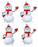 Snowman with scarf on white pointing to something set Stock Image