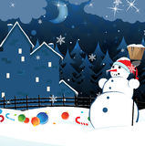 Snowman and scattered Christmas decorations Stock Image