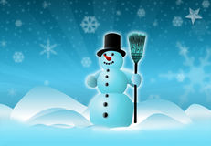 Snowman Scene. 3d rendering of snowman with Snow background royalty free illustration