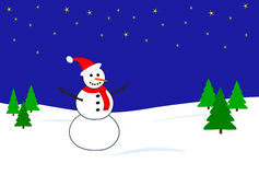 Snowman scene. Snowman wearing santa hat and red scarf in winter scene Royalty Free Stock Images
