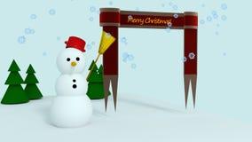 Snowman scene Christmas greetings card Stock Photography