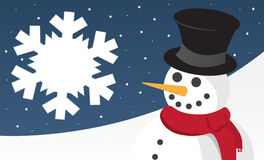 Snowman Scene with Snowflake Royalty Free Stock Photos