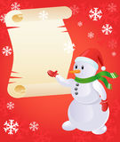 Snowman with scroll. Christmas  illustration of snowman and scroll on the red background with snowflakes Stock Photography
