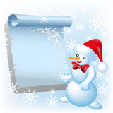 Snowman and scroll Stock Image