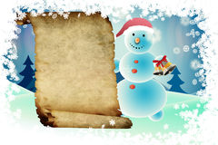 Snowman and scroll Royalty Free Stock Image