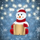 Snowman with scroll and festive winter decoration. Illustration of snowman with scroll, light garland and snowflake background Royalty Free Stock Images