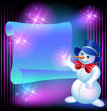Snowman and scroll for text Stock Photos