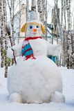 Snowman Sculpted Out Of Snow In The City Park, Stock Images