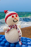 Snowman at sea. Snowman with beach and sea in the background Stock Photography