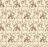 Snowman seamless doodles Stock Photography