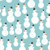 Snowman seamless pattern. Christmas background. Ornament from sn Stock Photo