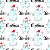 Snowman seamless pattern for Christmas and winter decorations. Wrapping paper design Royalty Free Stock Photos