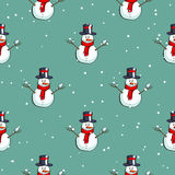 Snowman Seamless Pattern. Seamless pattern made from hand drawn snowmen on snowy background. Vector illustration Stock Images