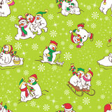 Snowman seamless pattern. Template for christmas winter design. Royalty Free Stock Photos