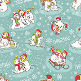 Snowman seamless pattern. Royalty Free Stock Photography
