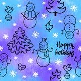 Snowman illustration seamless pattern. winter background vector illustration