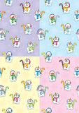 Snowman Seamless Patterns Stock Photo