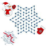 Snowman search the way. Kid maze game. Royalty Free Stock Photography