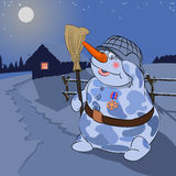 Snowman security guard. Illustration Snowball-security guard with a medal Royalty Free Stock Photo