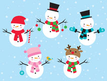 Snowman Set. Illustration of snowman dress up in different costumes Royalty Free Stock Images
