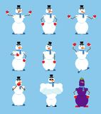 Snowman set poses and motion. Fitter happy and yoga. Serviceman Stock Photography