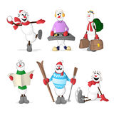 Snowman set. Set of snowmen showing different professions and situations Royalty Free Stock Photo