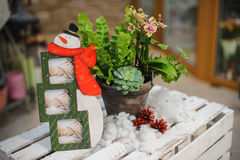 Snowman shape photo frame composition Royalty Free Stock Photo