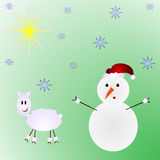 Snowman and sheep Christmas illustration. Snowflakes stock illustration