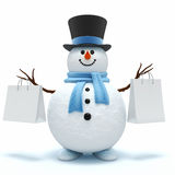 Snowman with shopping bags Stock Photography