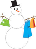 Snowman shopping Royalty Free Stock Images