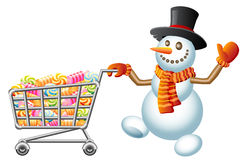 Snowman and shoppingcart. Snowman pushes shoppingcart with sweetmeat; Christmas  shoppingcart; Isolated vector Illustration Royalty Free Stock Photography