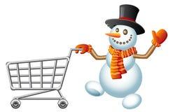 Snowman and shoppingcart. Snowman pushes shoppingcart; Christmas  shoppingcart; Isolated vector Illustration Royalty Free Stock Photo