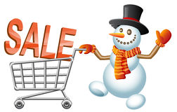 Snowman and shoppingcart. Snowman pushes shoppingcart with letter; Christmas  shoppingcart; Sale theme; Isolated vector illustration Stock Images