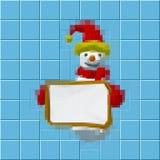 Snowman shows blank board.Mosaic tile.Digital colorful illustrat Stock Images