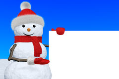 Snowman shows blank white board Stock Images