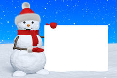 Snowman shows blank white board under snowfall Royalty Free Stock Images