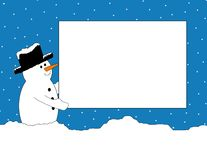 Snowman with Sign Royalty Free Stock Photo