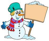 Snowman with sign. Vector illustration Stock Photo