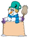Snowman with sign and broom. Vector illustration Royalty Free Stock Photo