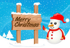Snowman and sign vector Royalty Free Stock Images