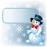 Snowman and signboard Royalty Free Stock Image