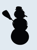 Snowman silhouette. Vector art illustration Royalty Free Stock Photography